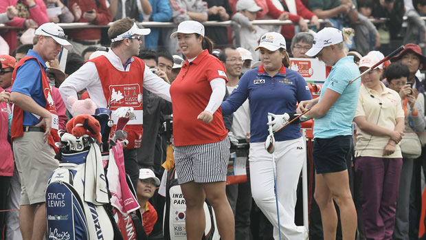 The Final Group during the final round of the 2013 Reignwood LPGA Classic.