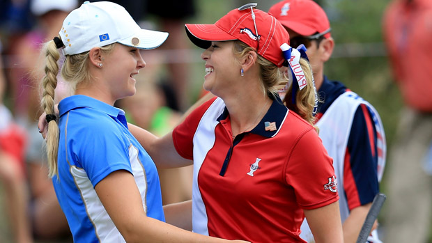 Paula Creamer and Charley Hull during the final day singles matches at the Solheim Cup