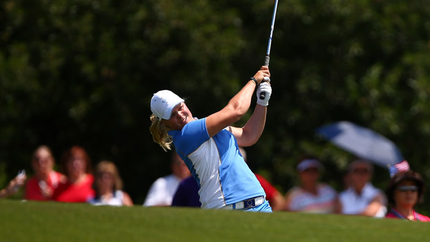 Caroline Hedwall during the final day singles matches at the Solheim Cup