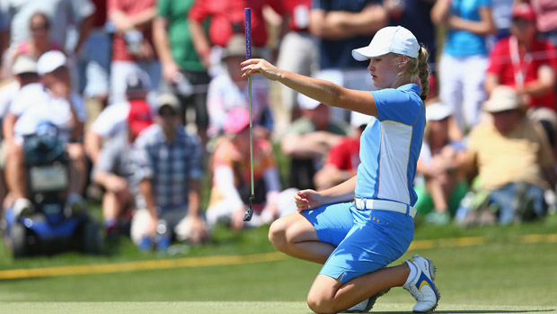 Charley Hull during the final day singles matches at the Solheim Cup
