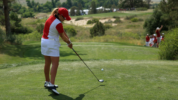 Cristie Kerr during the final day singles matches at the Solheim Cup