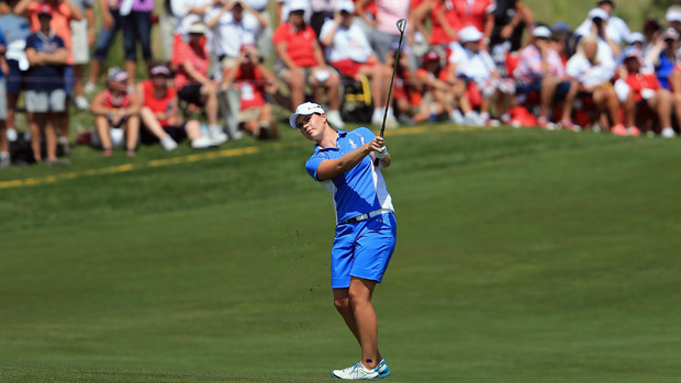 Caroline Masson during the final day singles matches at the Solheim Cup