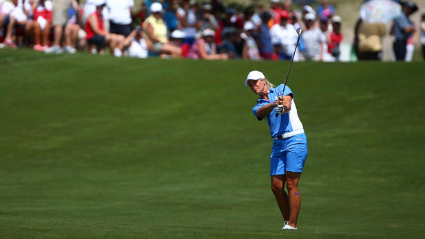 Suzann Pettersen during the final day singles matches at the Solheim Cup