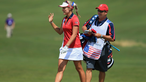 Lexi Thompson during the final day singles matches at the Solheim Cup