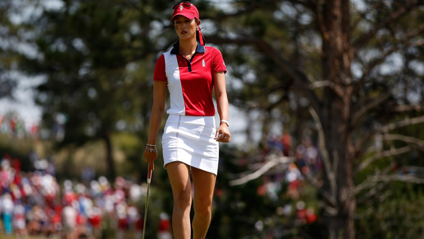 Michelle Wie during the final day singles matches at the Solheim Cup
