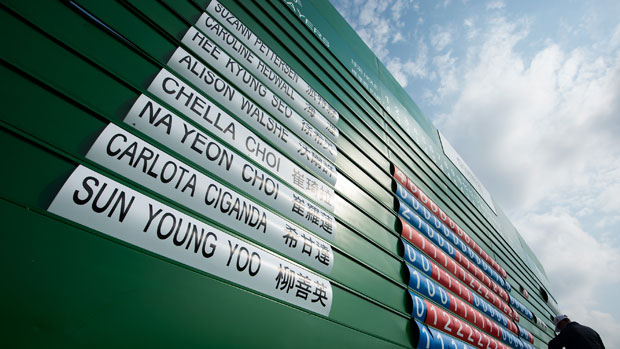 Competitors' scores are updated during the second round of the Sunrise LPGA Taiwan Championship