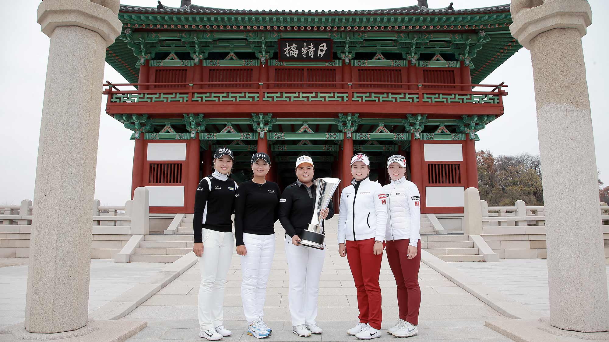 Jeongeun Lee6, Jin Young Ko, Inbee Park and members of the KLPGA pose for a photo during the Orange Life Champions Trophy Inbee Park Invitational at Blue One The Honors Country Club in Gyeongju, Republic of Korea