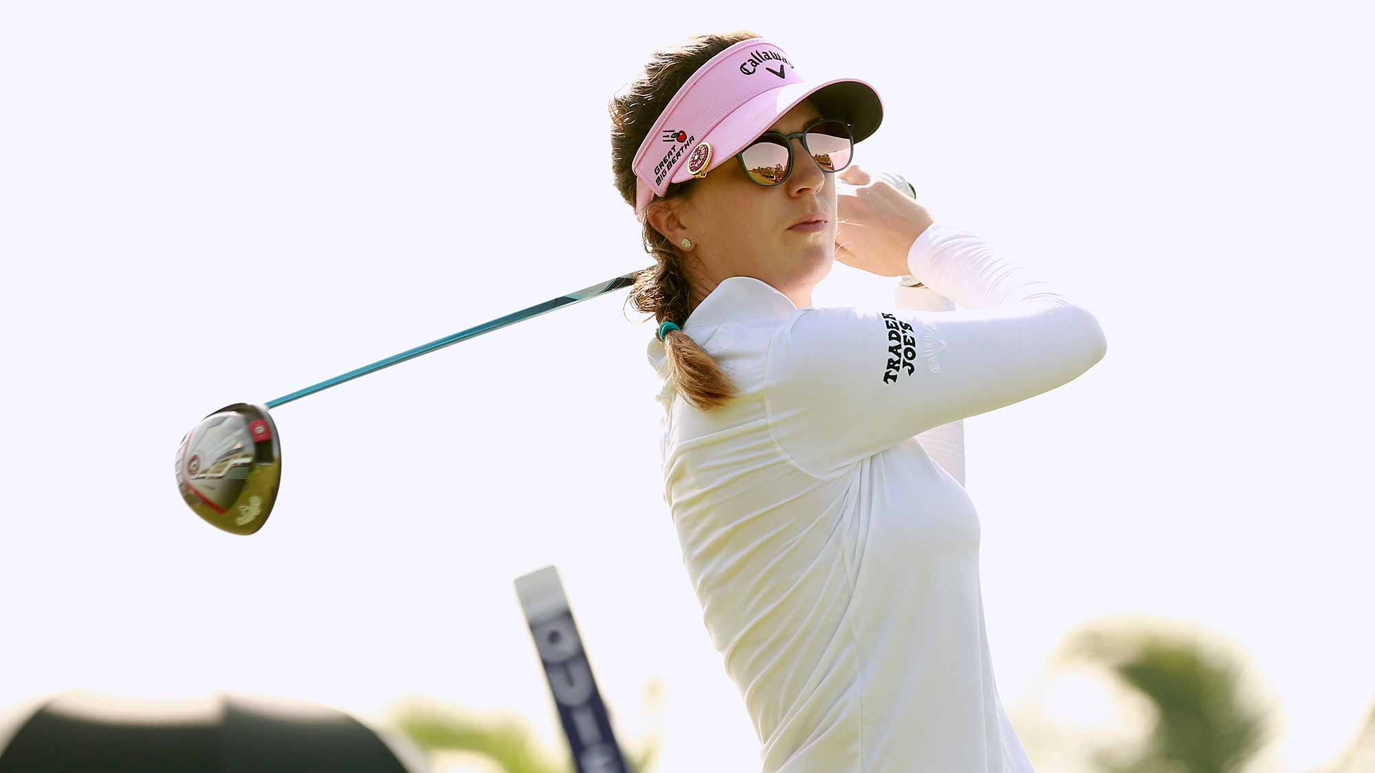 Sandra Gal of Germany tees off at Blue Bay LPGA during Round 1