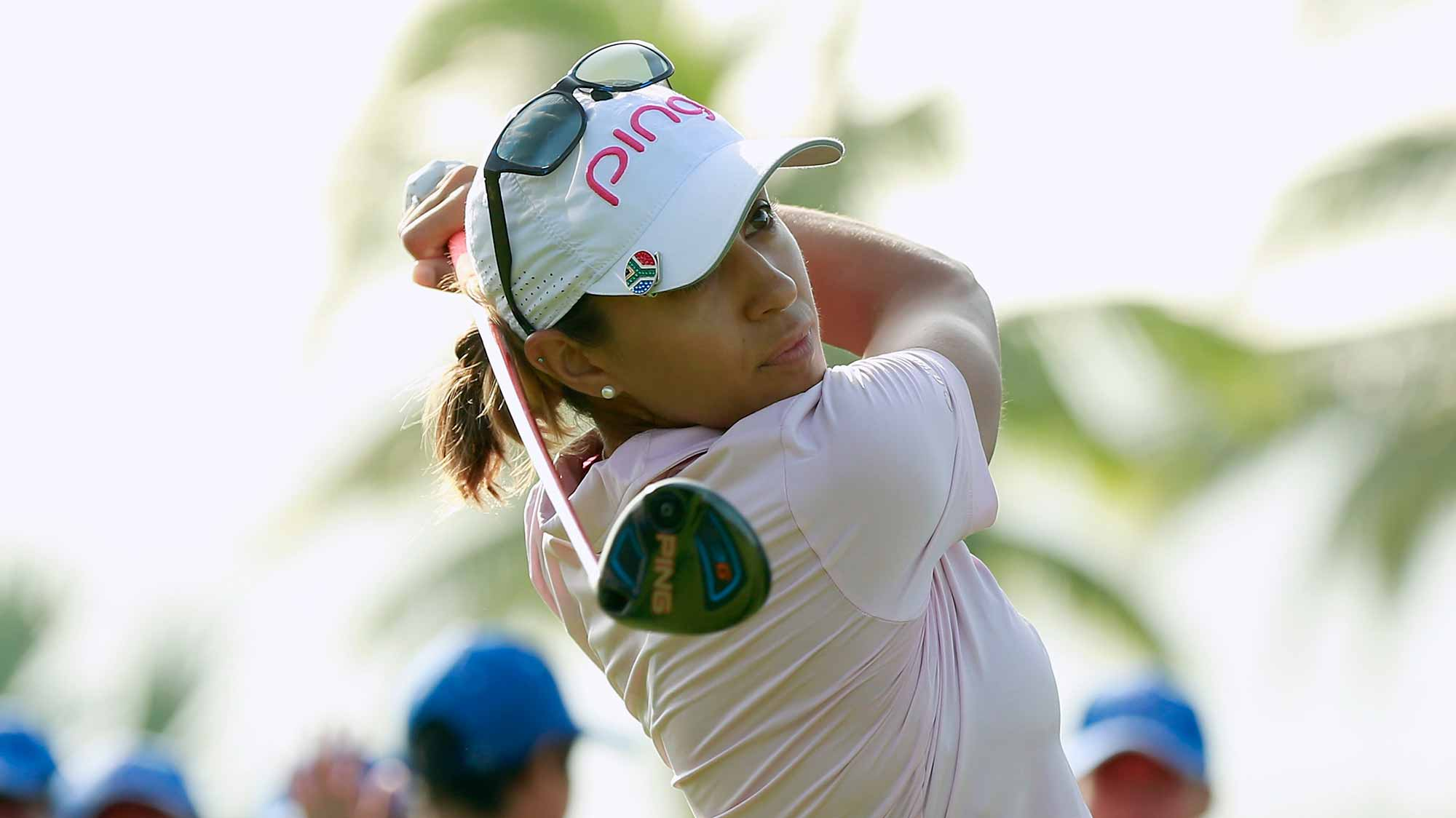 Paula Reto of Republic of South Africa tee off at Blue Bay LPGA during Round 1