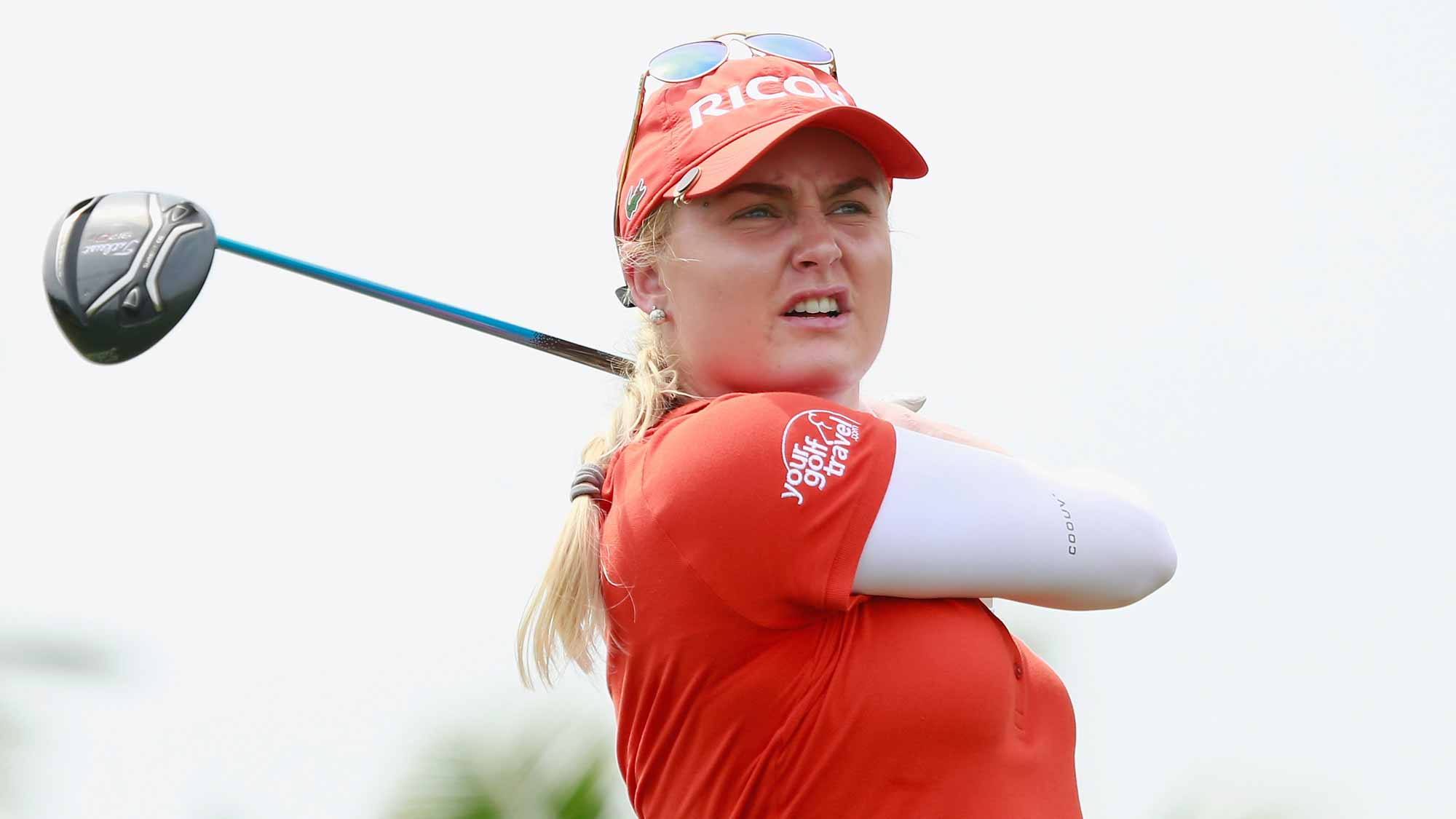 Charley Hull of England tee off during Round 2 of Blue Bay LPGA