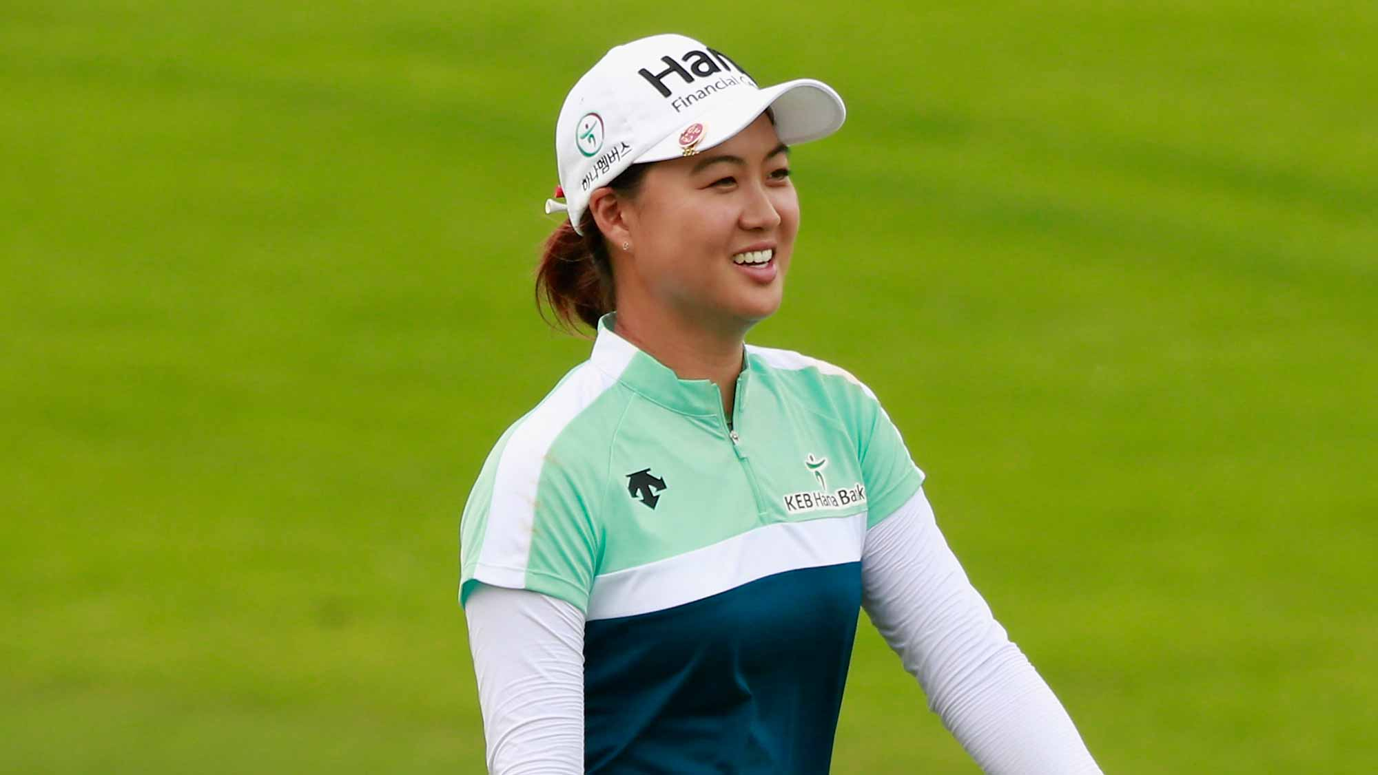 Minjee Lee of Australia reacts on the field at the 18th hole during Round 2 of Blue Bay LPGA