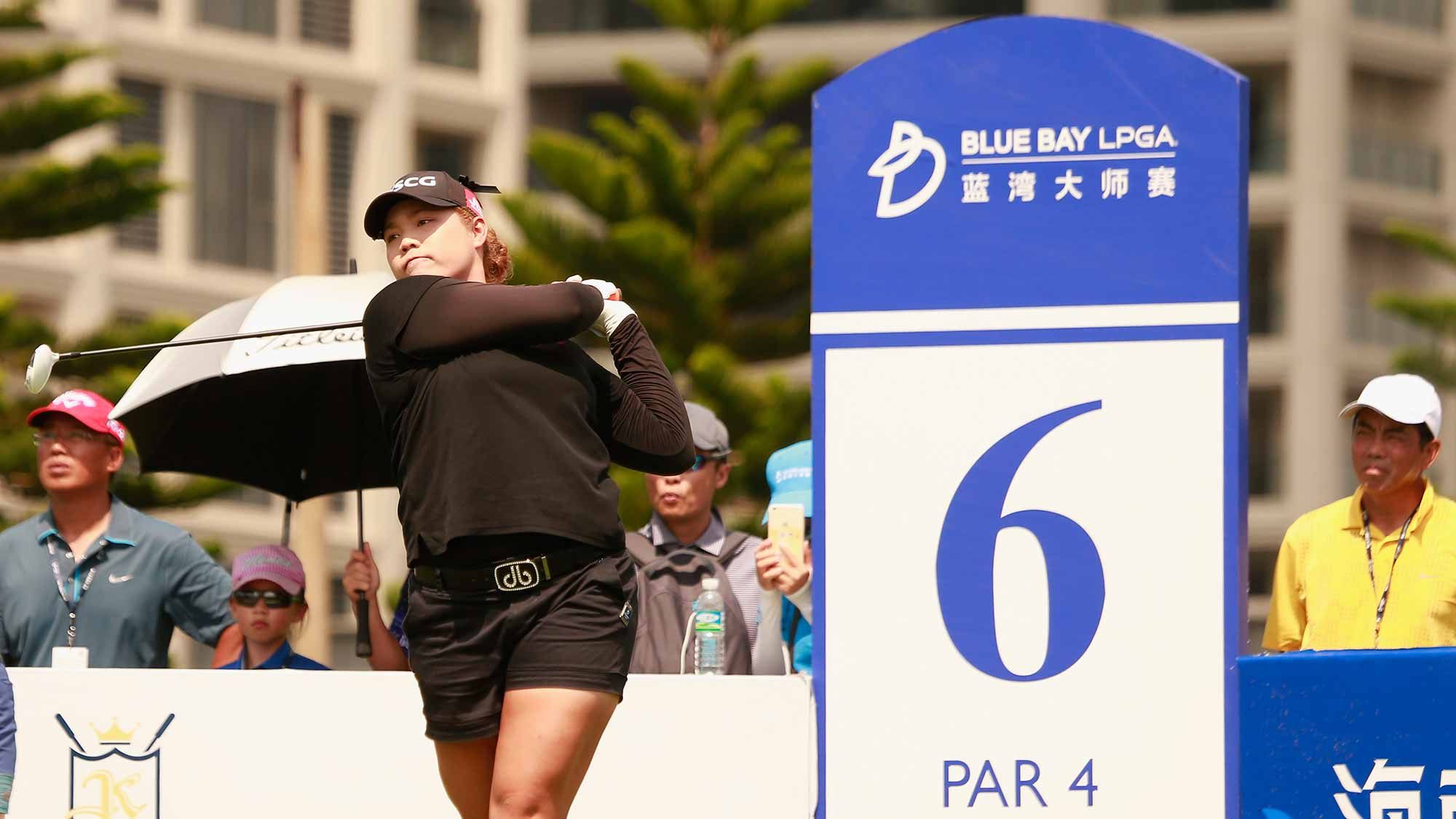 Ariya Jutanugarn of Thailand tee off during the final round of Blue Bay LPGA on Day 4