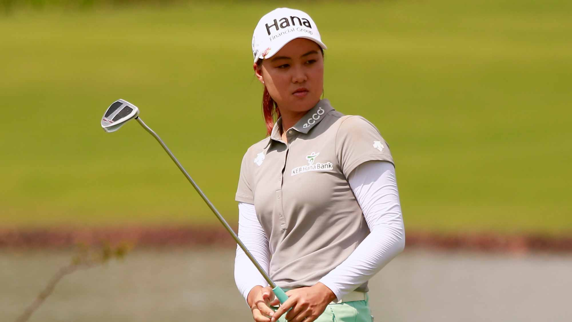 Minjee Lee of Australia acknowledges to spectators during the final round of Blue Bay LPGA on Day 4