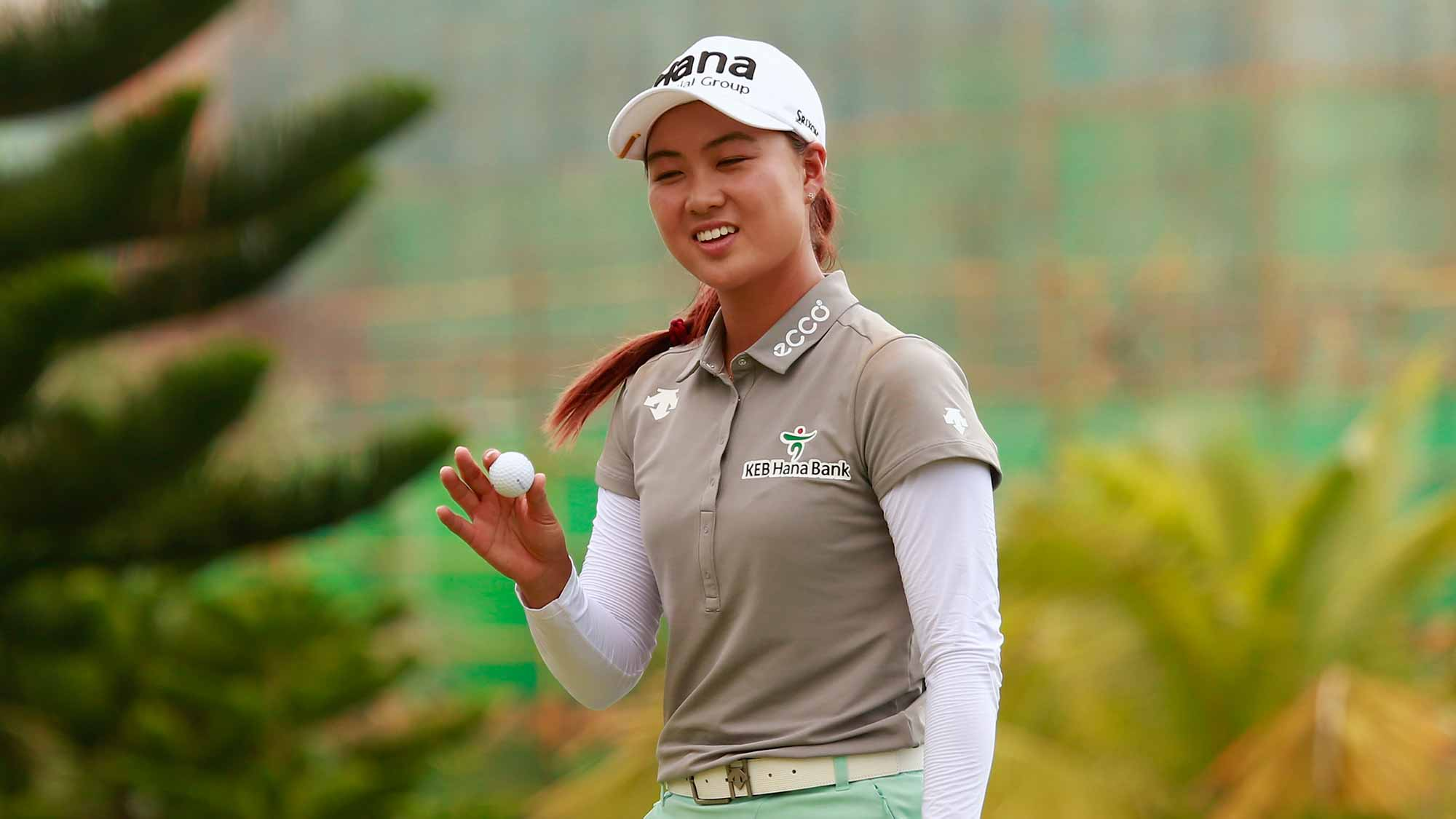 Minjee Lee of Australia in action during the final round of Blue Bay LPGA on Day 4