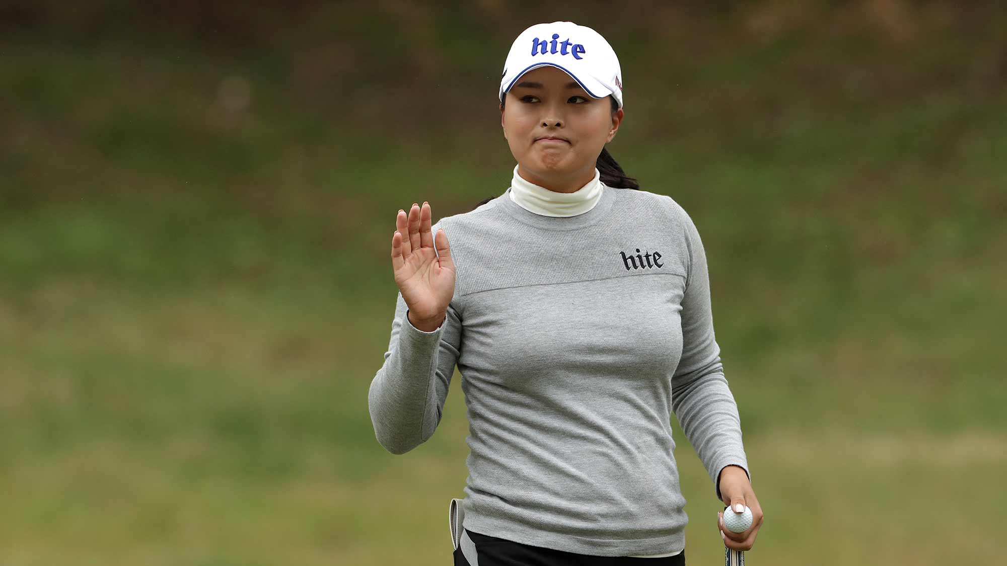 Jin Young Ko of South Korea acknowledges the gallery on the seven hole during Round 1 of 2019 BMW Ladies Championship at LPGA International Busan at on October 24, 2019 in Busan, Republic of Korea