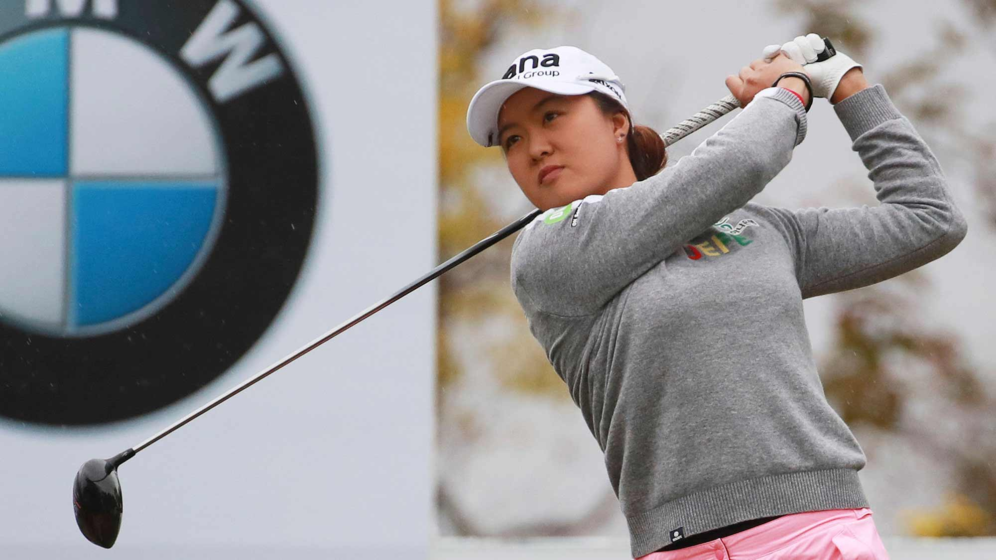 Australia's Minjee Lee watches her shot on the 10th hole during the first round of the LPGA tournament at LPGA International Busan in Busan, South Korea, Thursday, Oct. 24, 2019