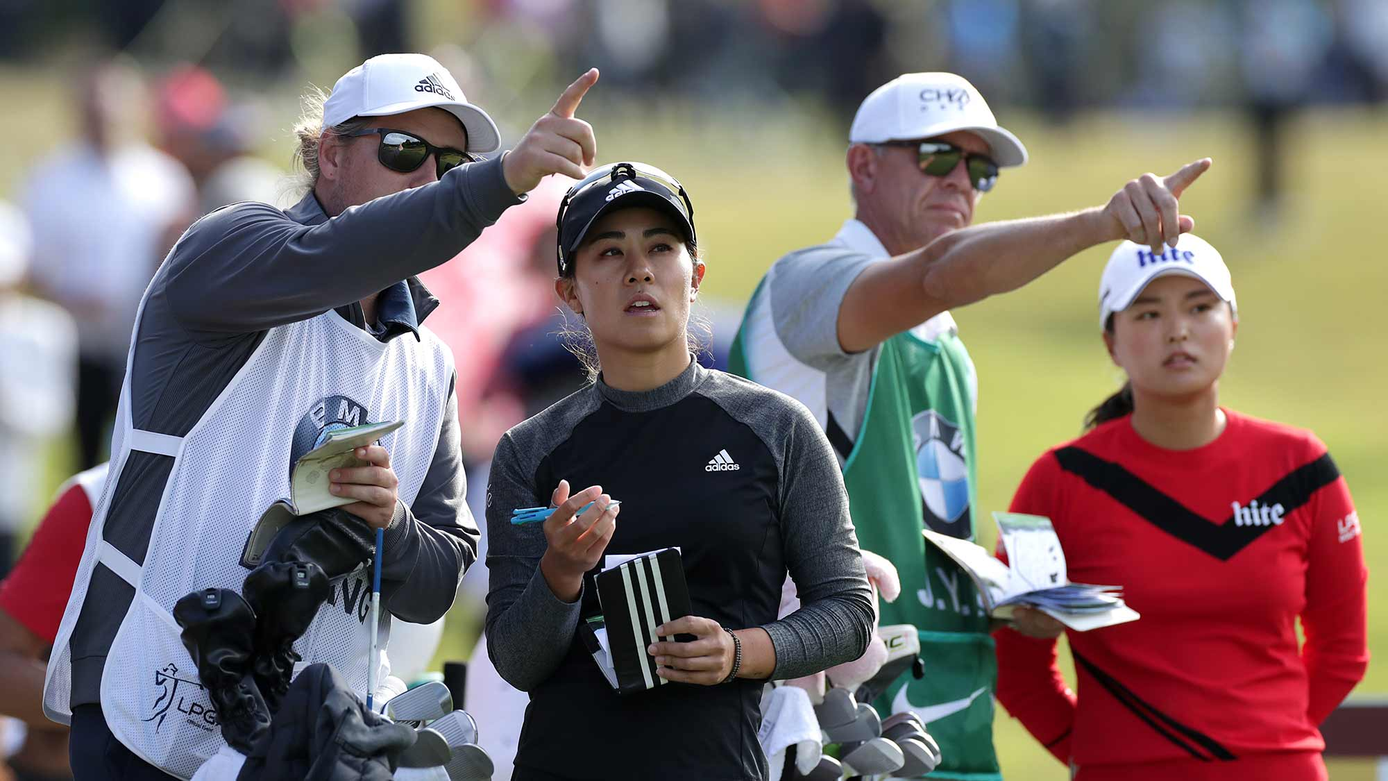 Danielle Kang and Jin Young Ko on the fifteen hole during Round 2 of 2019 BMW Ladies Championship at LPGA International Busan on October 25, 2019 in Busan, Republic of Korea