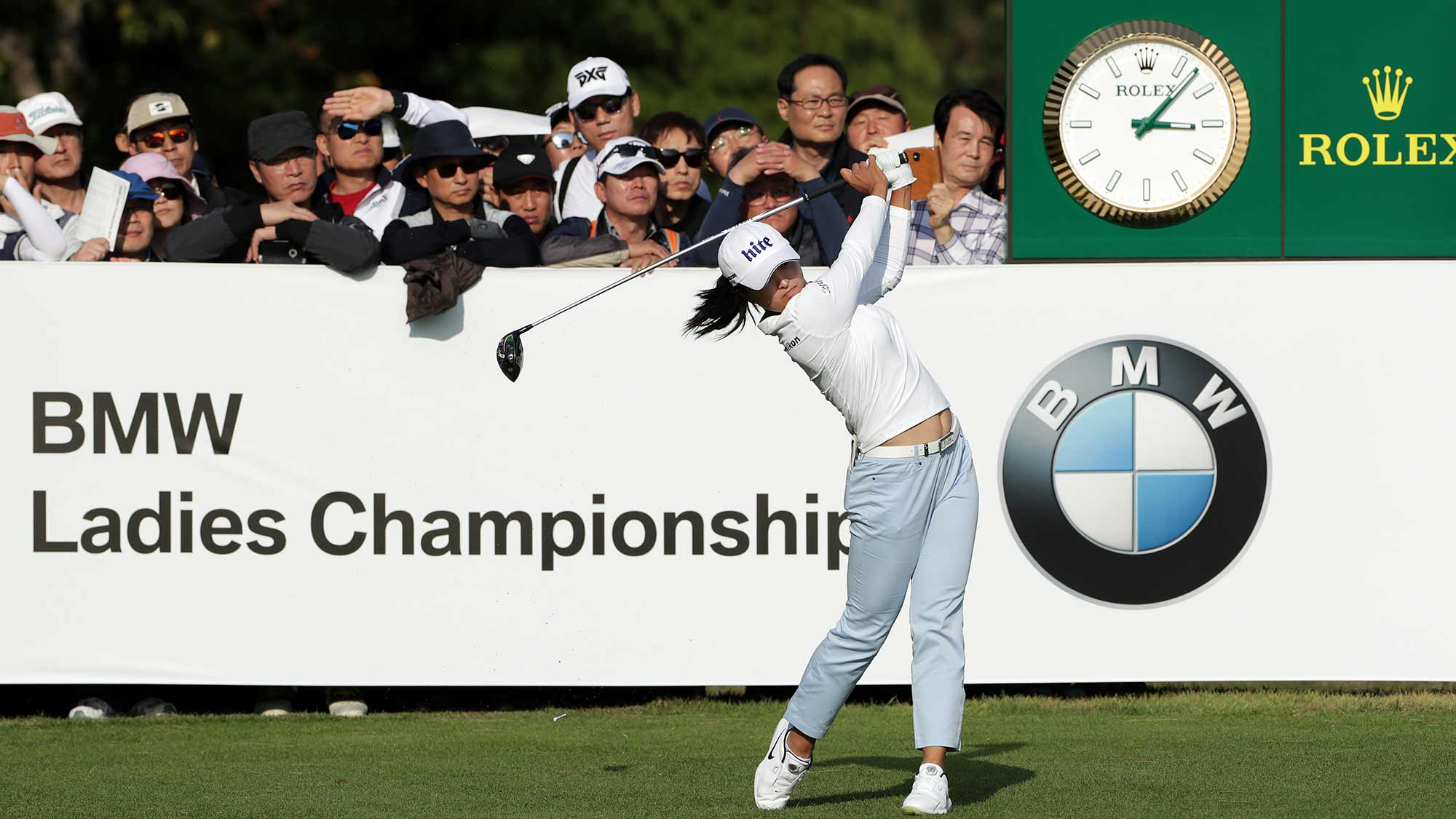 Jin Young Ko of the Republic of Korea drives from a tee on the eighteenth hole during Round 3 of 2019 BMW Ladies Championship at LPGA International Busan on October 26, 2019 in Busan, Republic of Korea