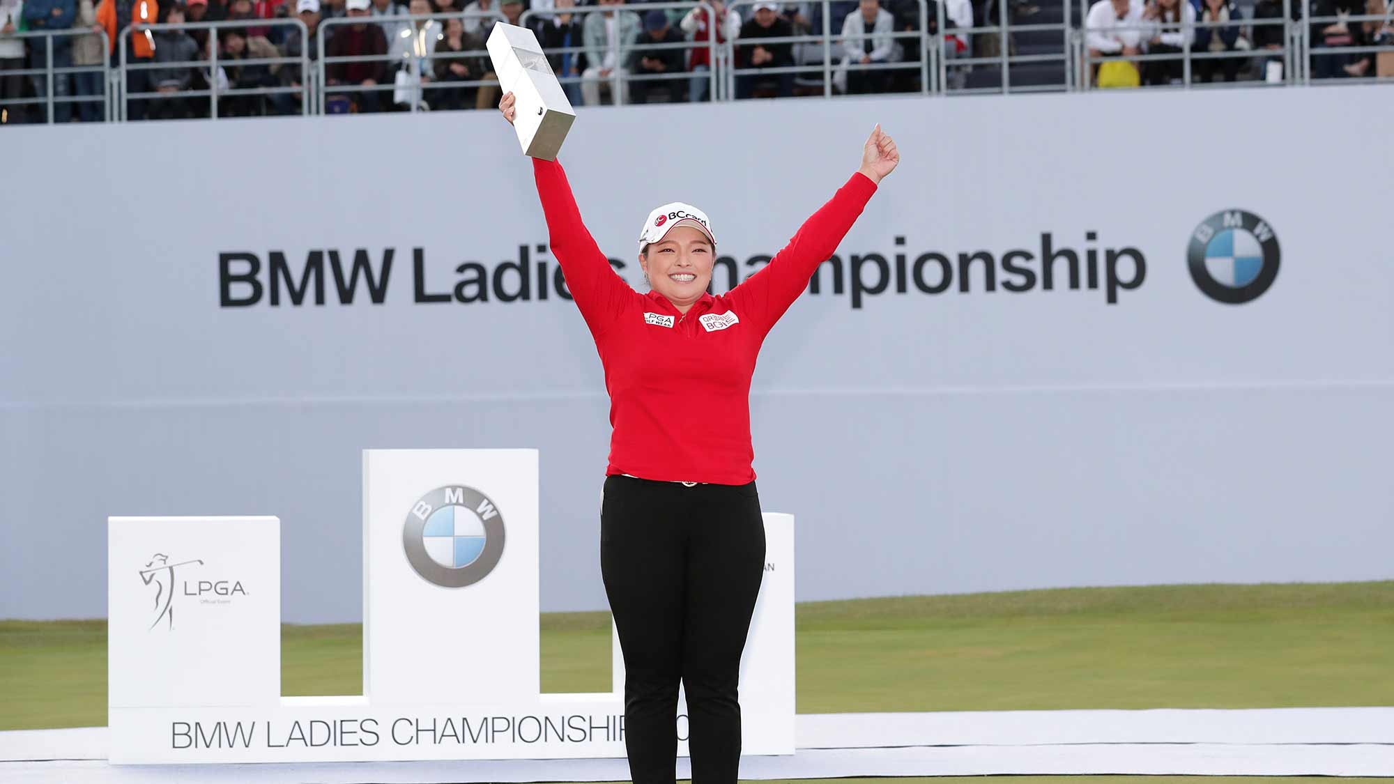 Ha Na Jang of the Republic of Korea poses for media as she with the trophy after winning the final Round of 2019 BMW Ladies Championship at LPGA International Busan on October 27, 2019 in Busan, Republic of Korea