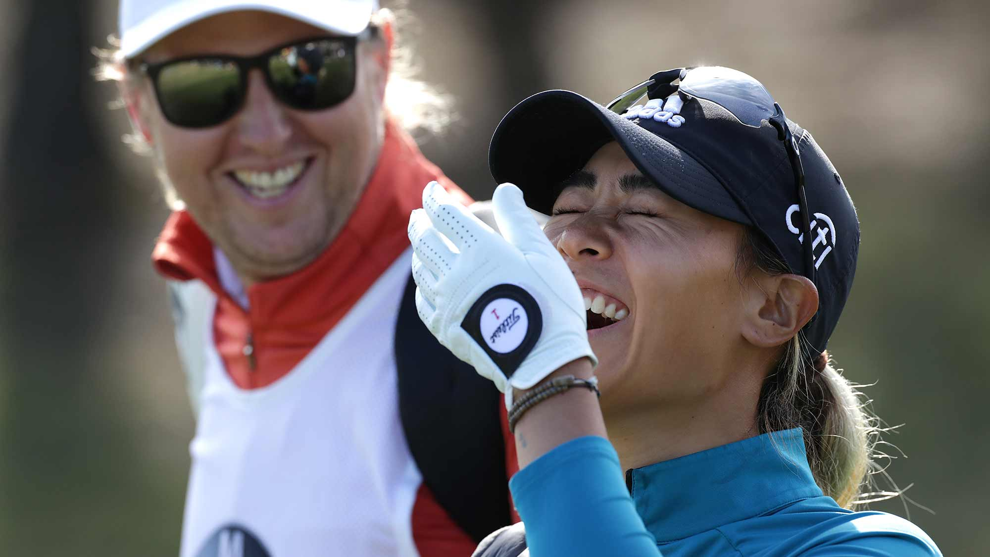 Danielle Kang of USA smiles on the first hole during the final Round of 2019 BMW Ladies Championship at LPGA International Busan on October 27, 2019 in Busan, Republic of Korea