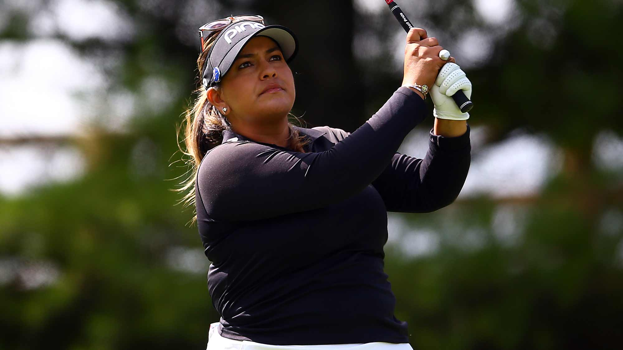 Lizette Salas of the United States hits her tee shot on the 2nd hole during the final round of the CP Women's Open at Magna Golf Club on August 25, 2019 in Aurora, Canada