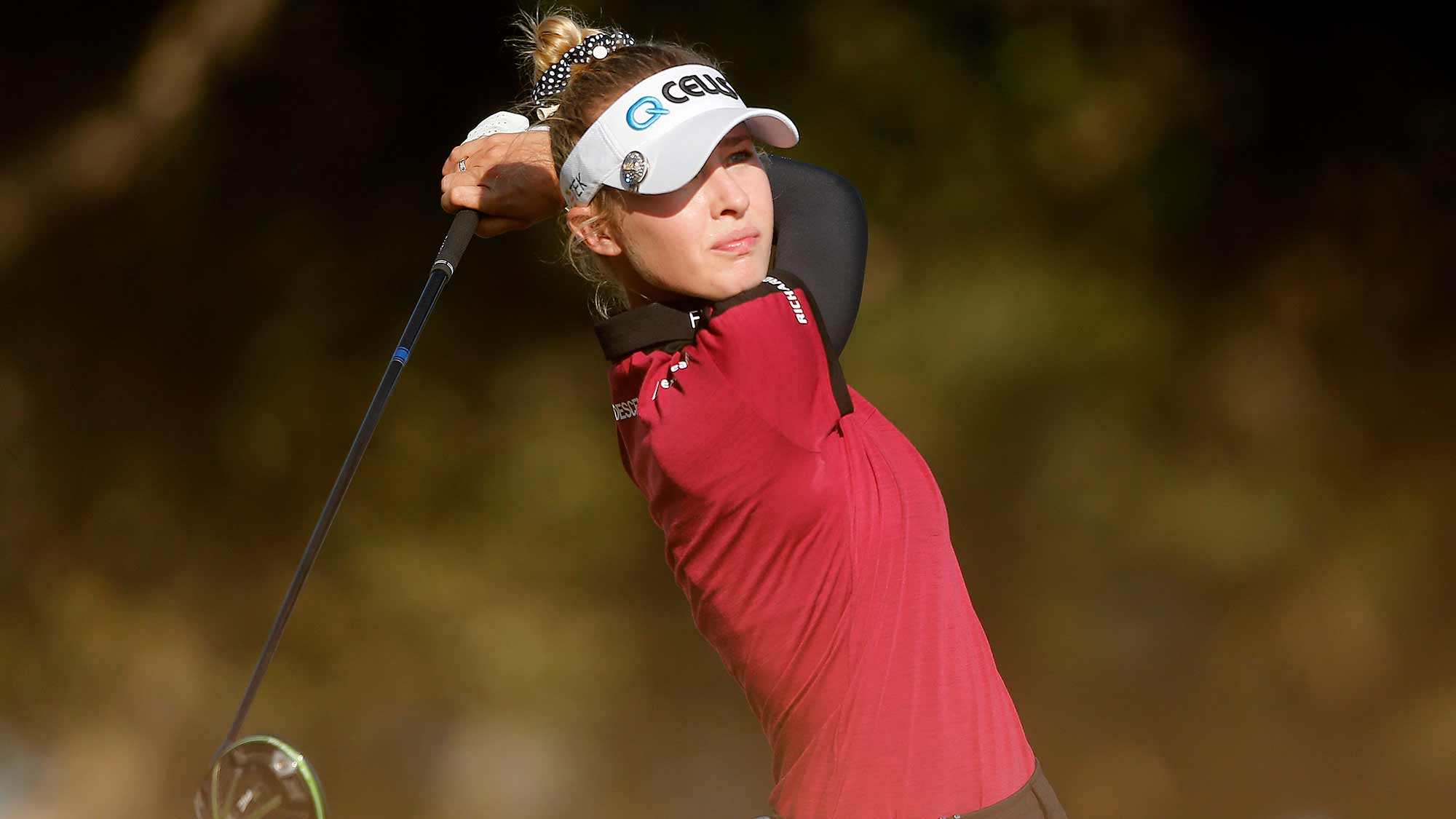Nelly Korda of the United States plays her shot from the 18th tee during the final round of the CME Group Tour Championship at Tiburon Golf Club on November 24, 2019 in Naples, Florida