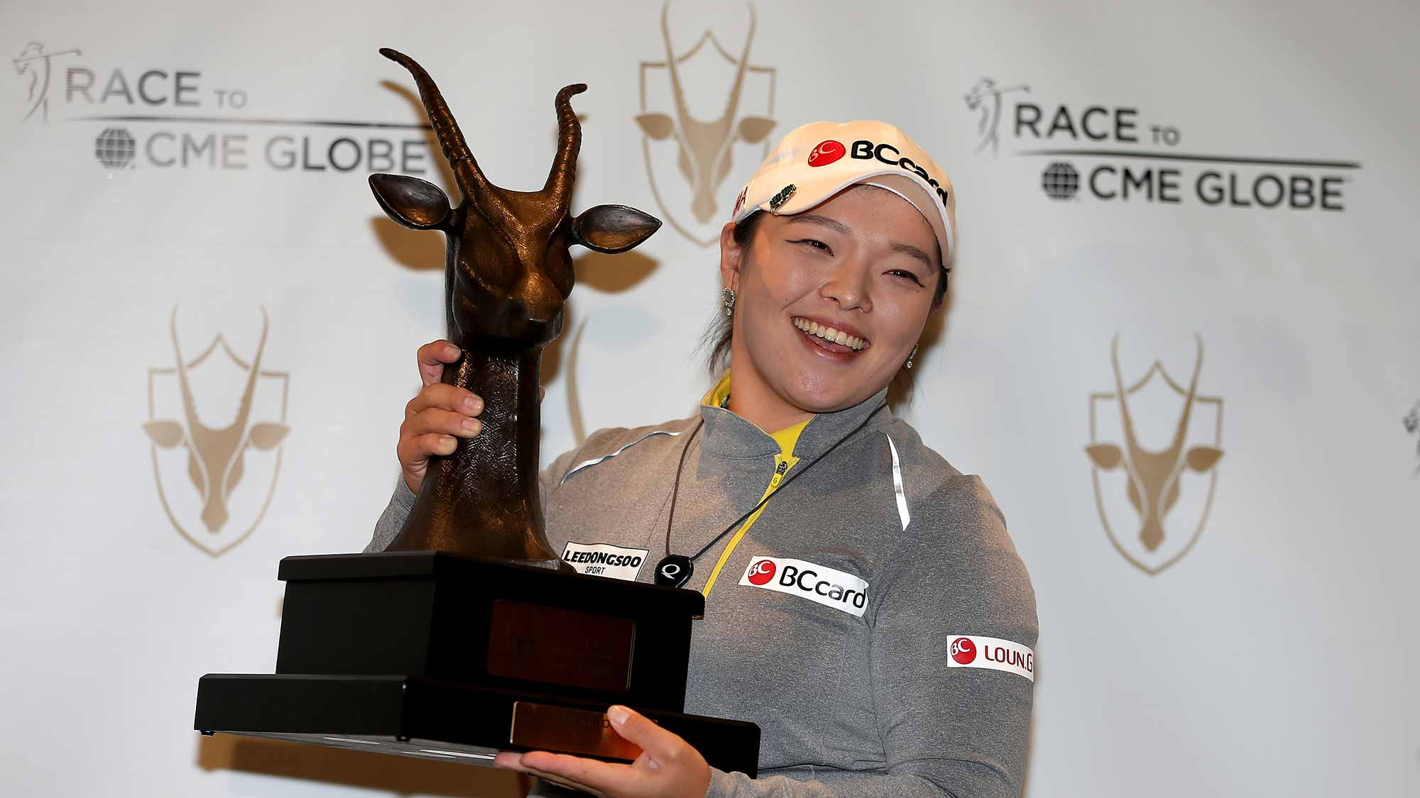 Ha Na Jang of South Korea poses with the trophy following the final round of the Coates Golf Championship Presented By R+L Carriers at Golden Ocala Golf Club