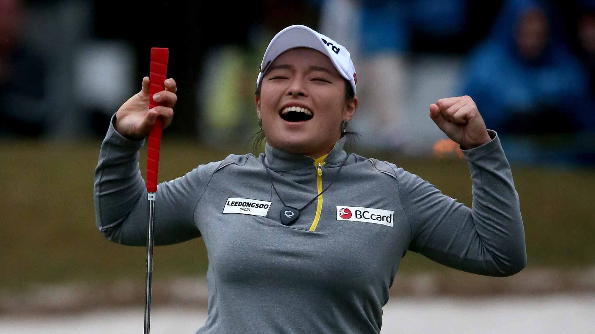 Ha Na Jang of South Korea celebrates winning the Coates Golf Championship Presented By R+L Carriers at Golden Ocala Golf Club