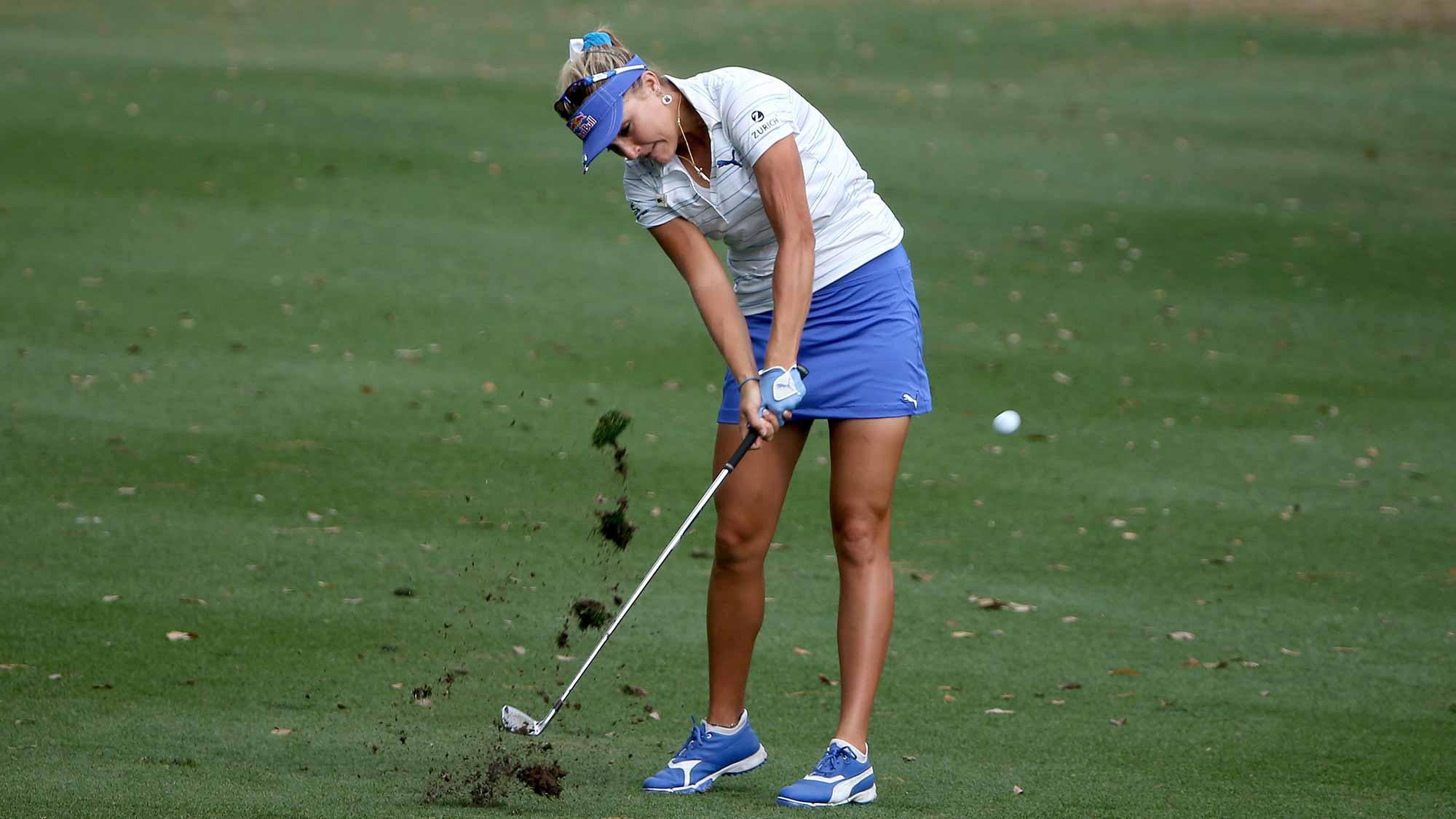 Lexi Thompson of the United States plays a shot on the eighth hole during the first round of the Coates Golf Championship Presented By R+L Carriers at Golden Ocala Golf Club
