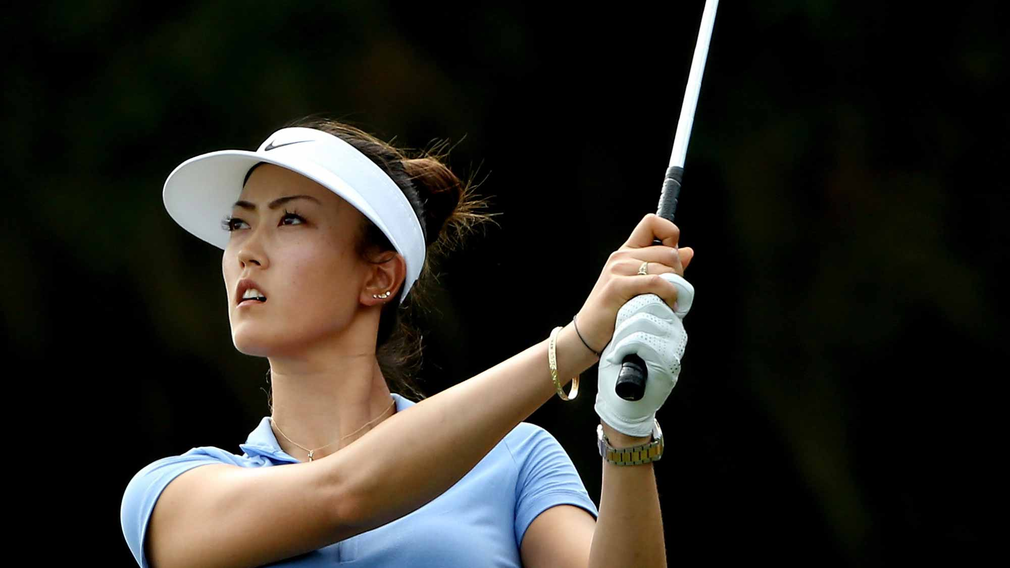 Michelle Wie of the United States plays a shot on the fourth hole during the first round of the Coates Golf Championship Presented By R+L Carriers at Golden Ocala Golf Club