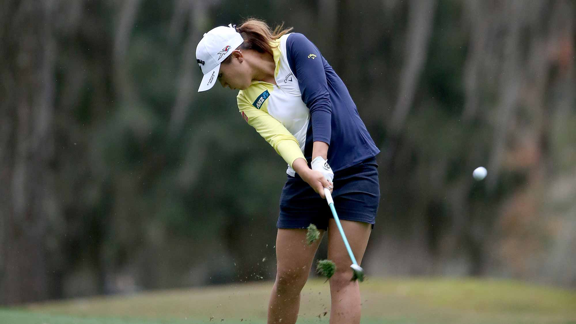 Lydia Ko of New Zealand plays a shot on the ninth hole during the second round of the Coates Golf Championship Presented By R+L Carriers at Golden Ocala Golf Club