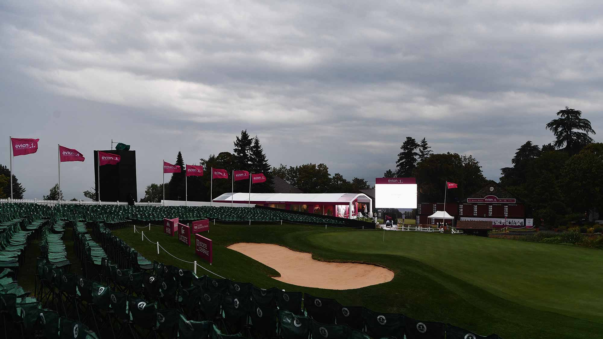 A general view of the 18th hole during the first round of The Evian Championship