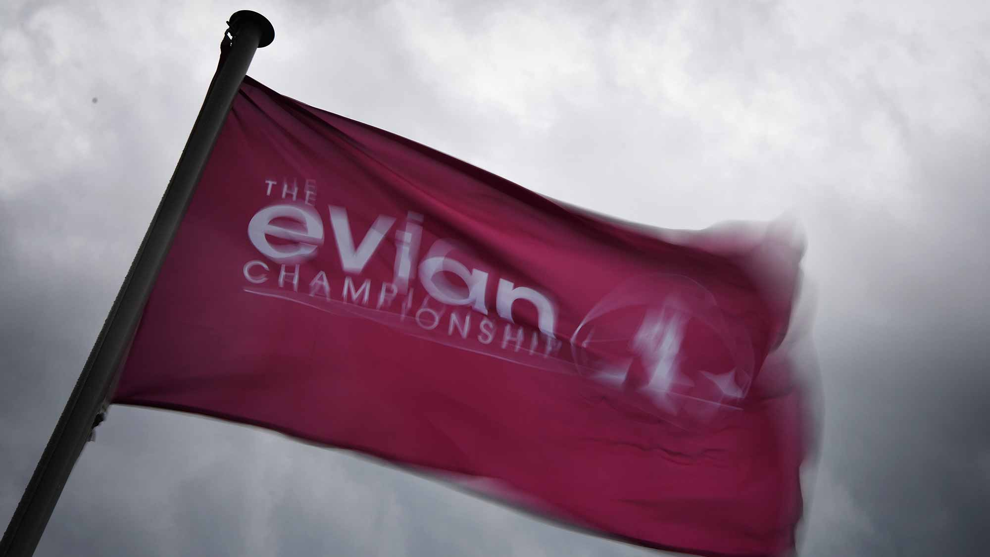 A flag flies in the strong wind during the first round of The Evian Championship