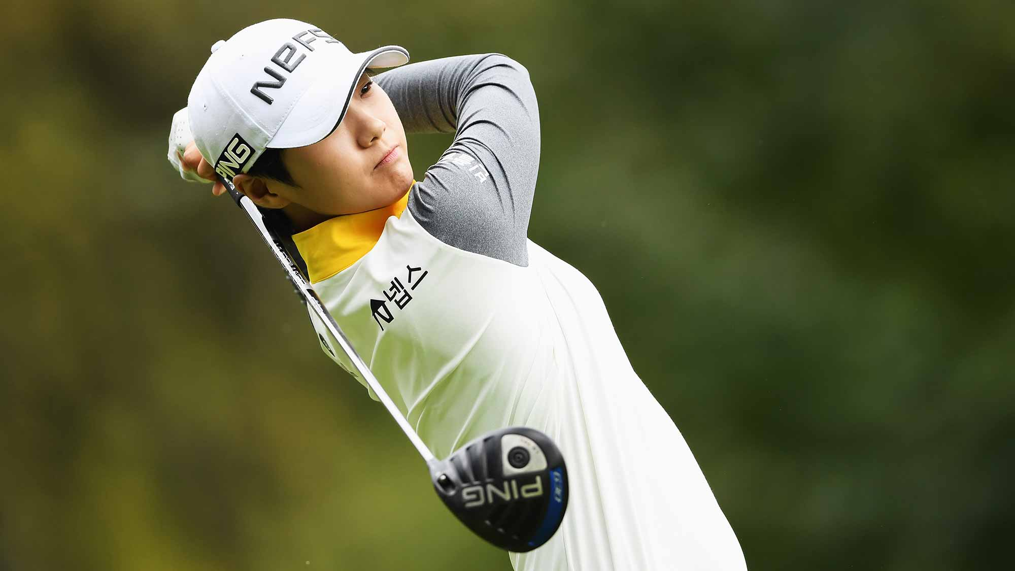 Sung Hyun Park of Korea plays a shot during the first round of The Evian Championship