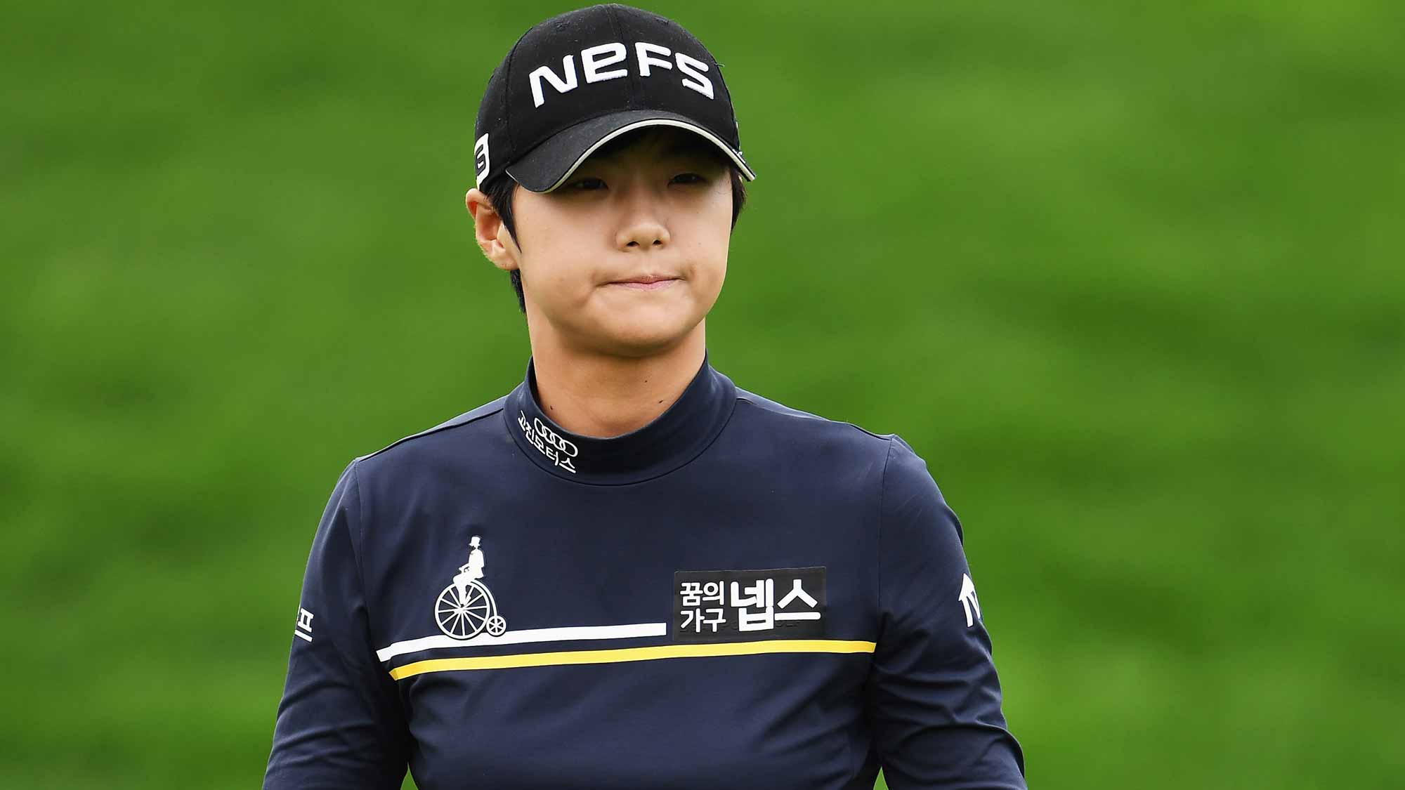 Sung Hyun Park of Korea reacts during the second round of The Evian Championship