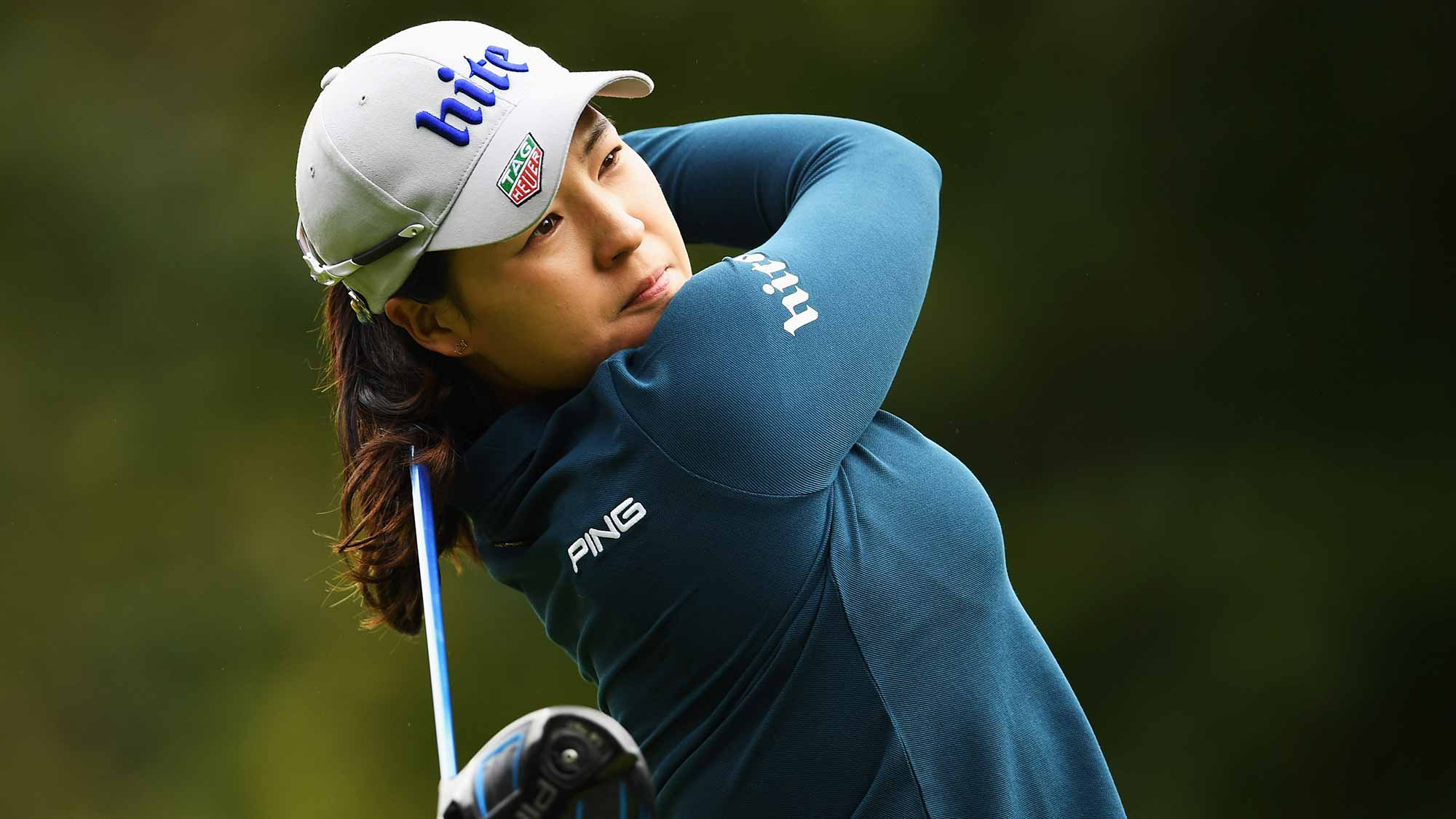 In Gee Chun of Korea plays a shot during the third round of The Evian Championship