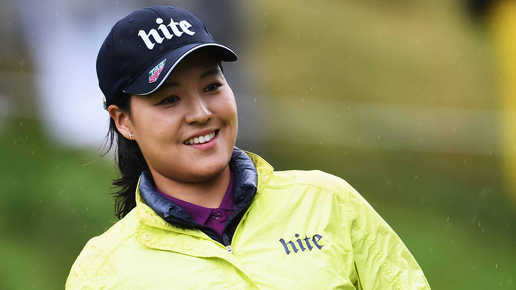 In Gee Chun of Korea reacts to a birdie putt during the final round of The Evian Championship