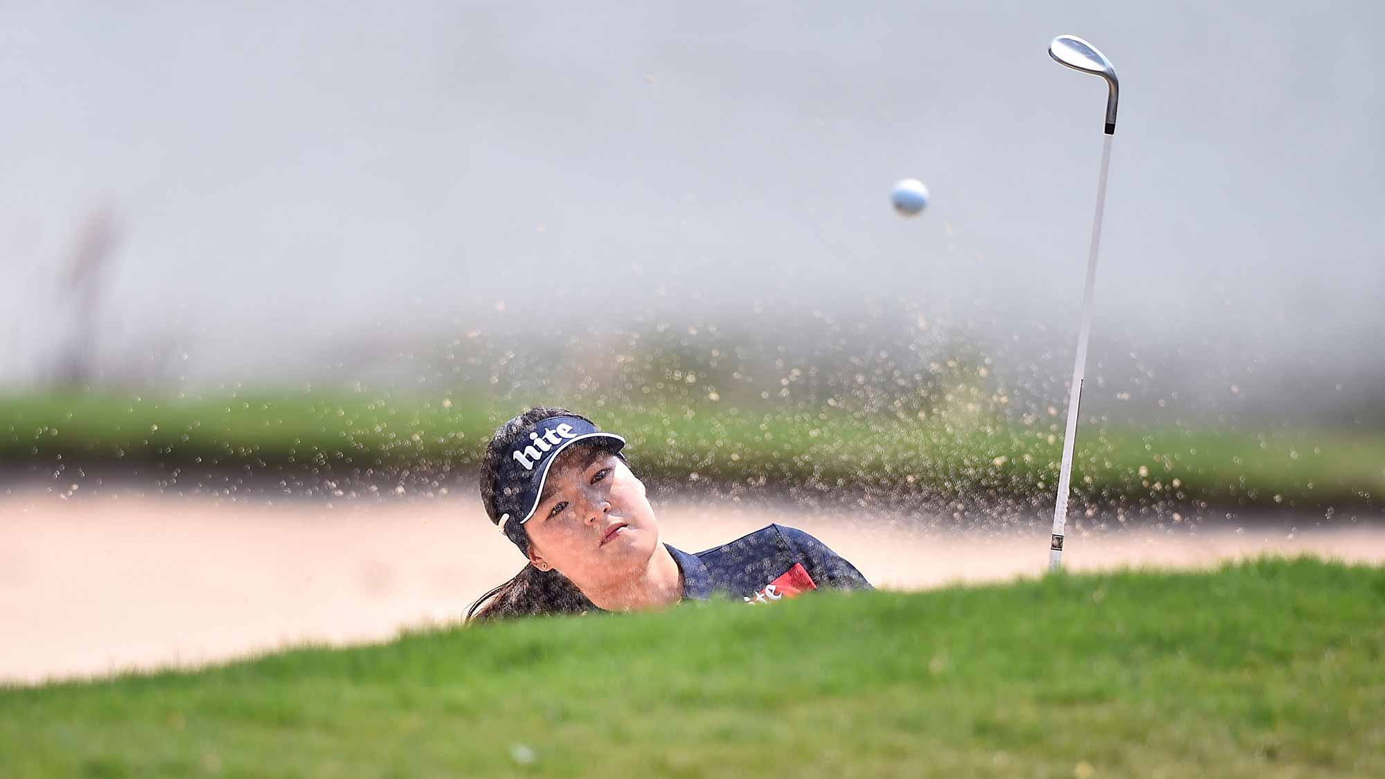 In Gee Chun of South Korea plays a shot during day four of the 2016 Honda LPGA Thailand at Siam Country Club