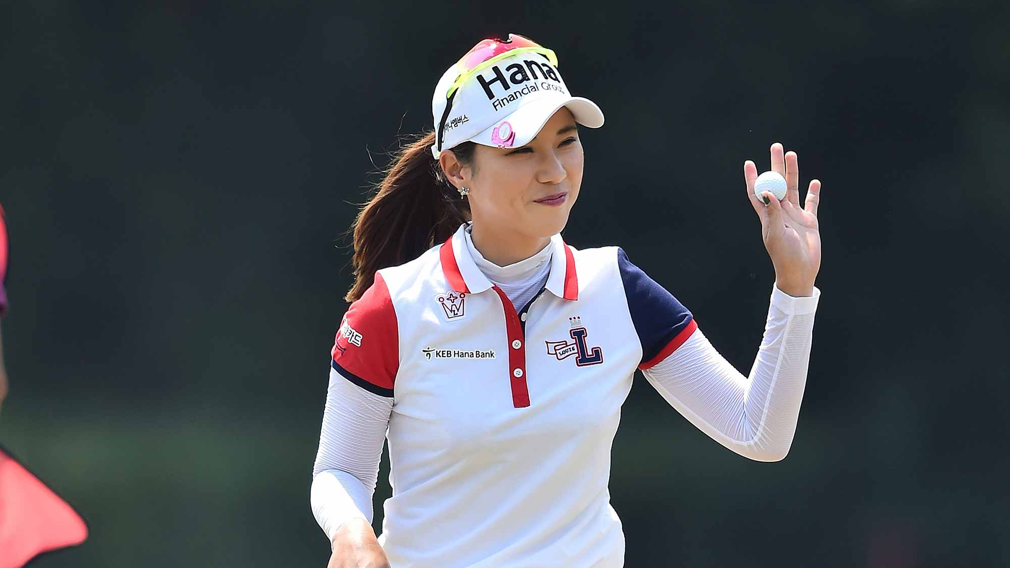 Hee Young Park of South Korea acknowledges the fan during day four of the 2016 Honda LPGA Thailand at Siam Country Club