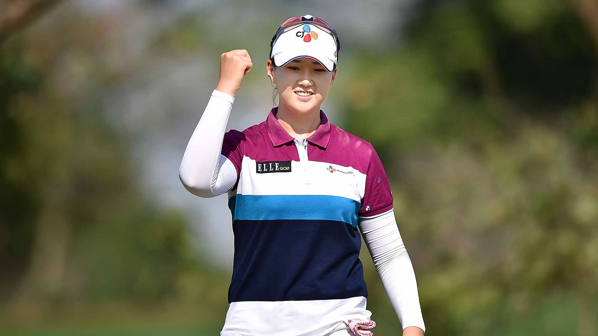 Q Baek of South Korea celebrates during day one of the 2016 Honda LPGA Thailand at Siam Country Club