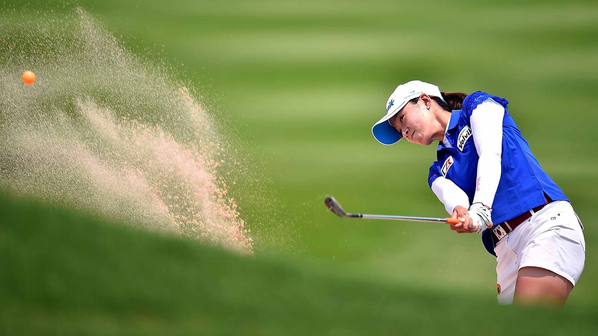 Chella Choi of South Korea plays a shot during day three of the 2016 Honda LPGA Thailand at Siam Country Club