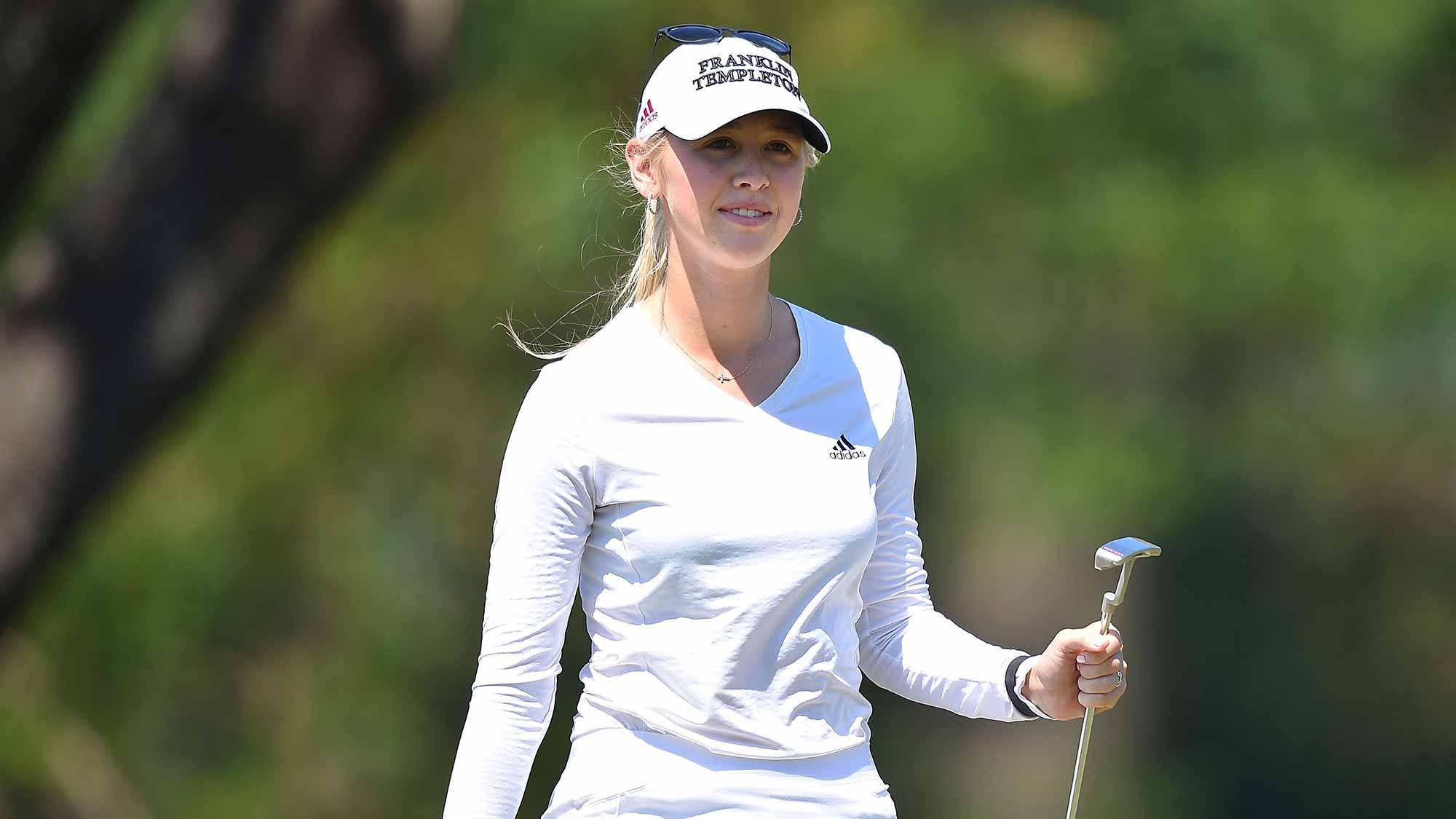 Jessica Korda of the United States smiles during day two of the 2016 Honda LPGA Thailand at Siam Country Club
