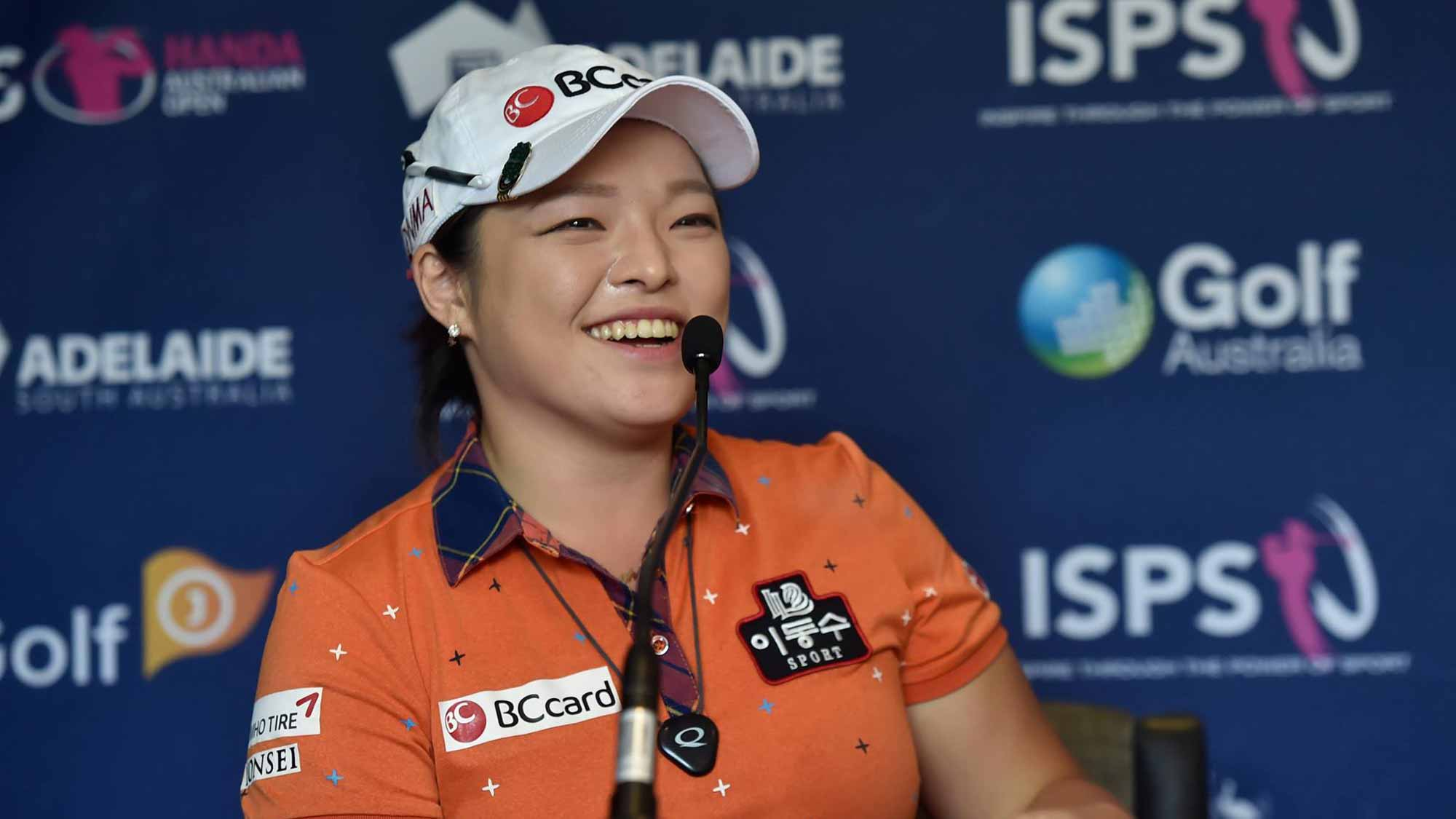 Ha Na Jang Pre-Tournament Press Conference at the 2016 ISPS Handa Women's Australian Open