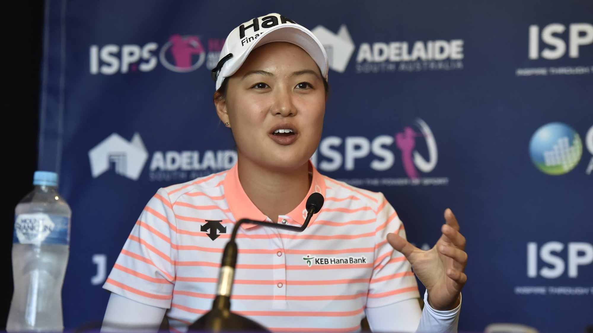 Minjee Lee during her Pre-Tournament Press Conference at the ISPS Handa Women's Australian Open