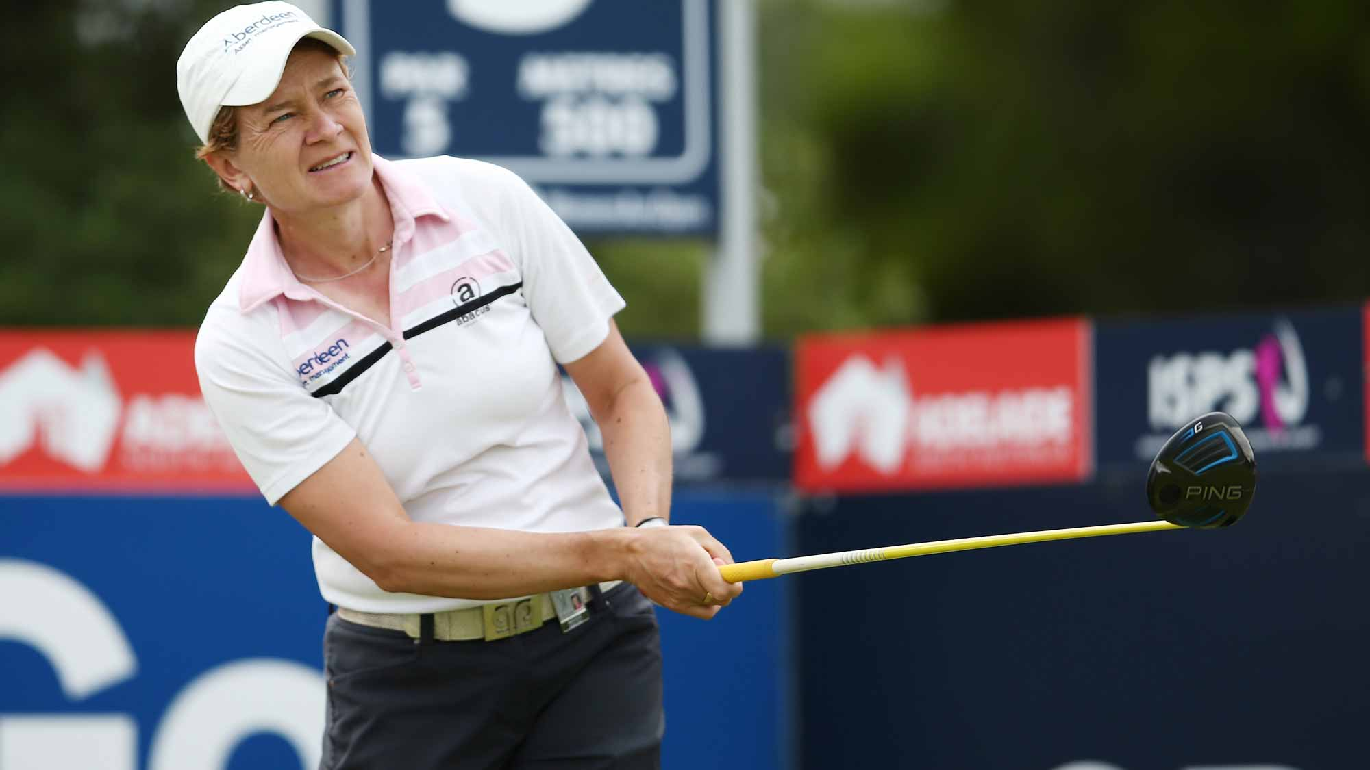 Catriona Matthew of Scotland competes during day two of the ISPS Handa Women's Australian Open