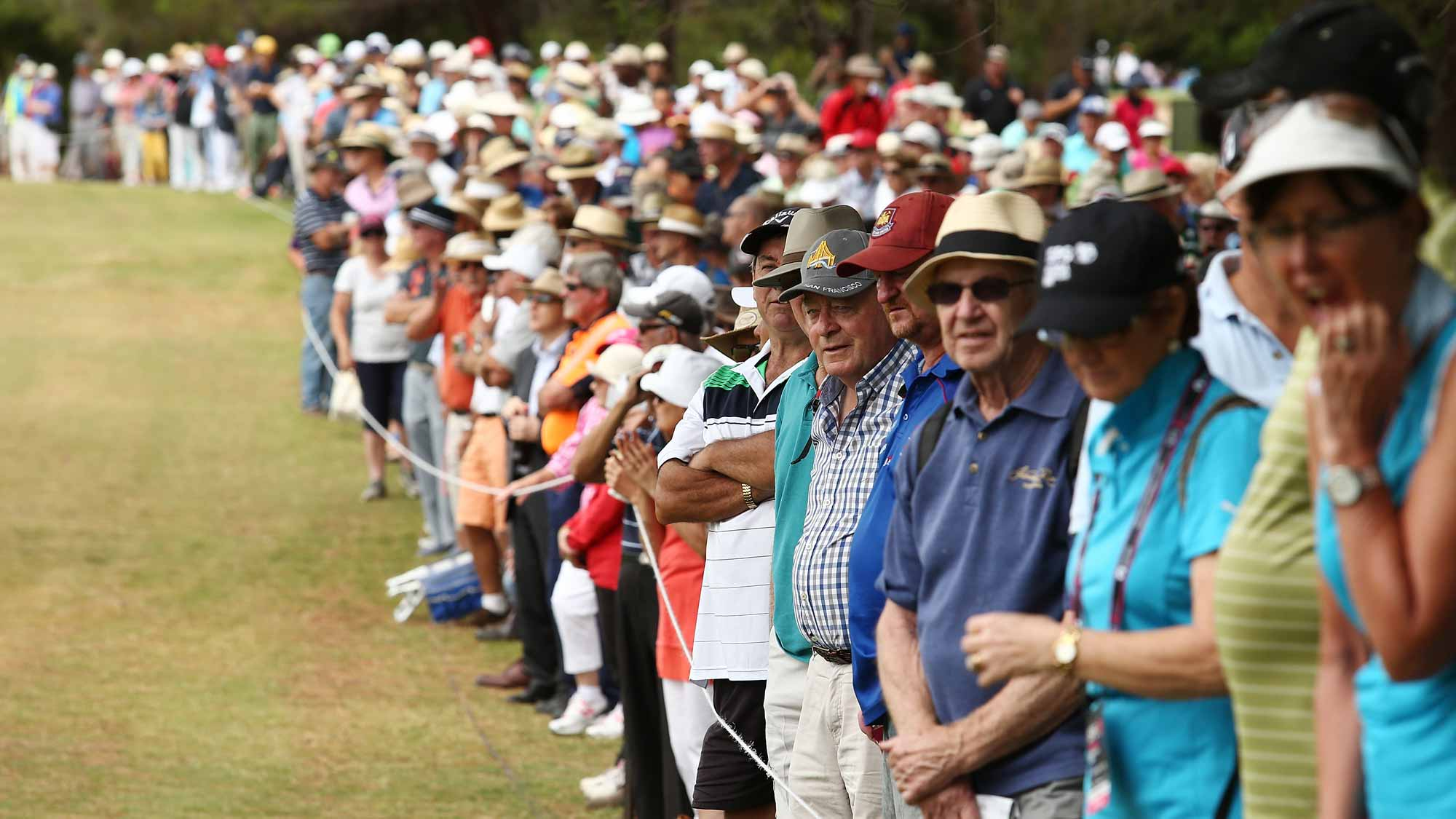 Spectators look on during day two of the ISPS Handa Women's Australian Open at The Grange GC