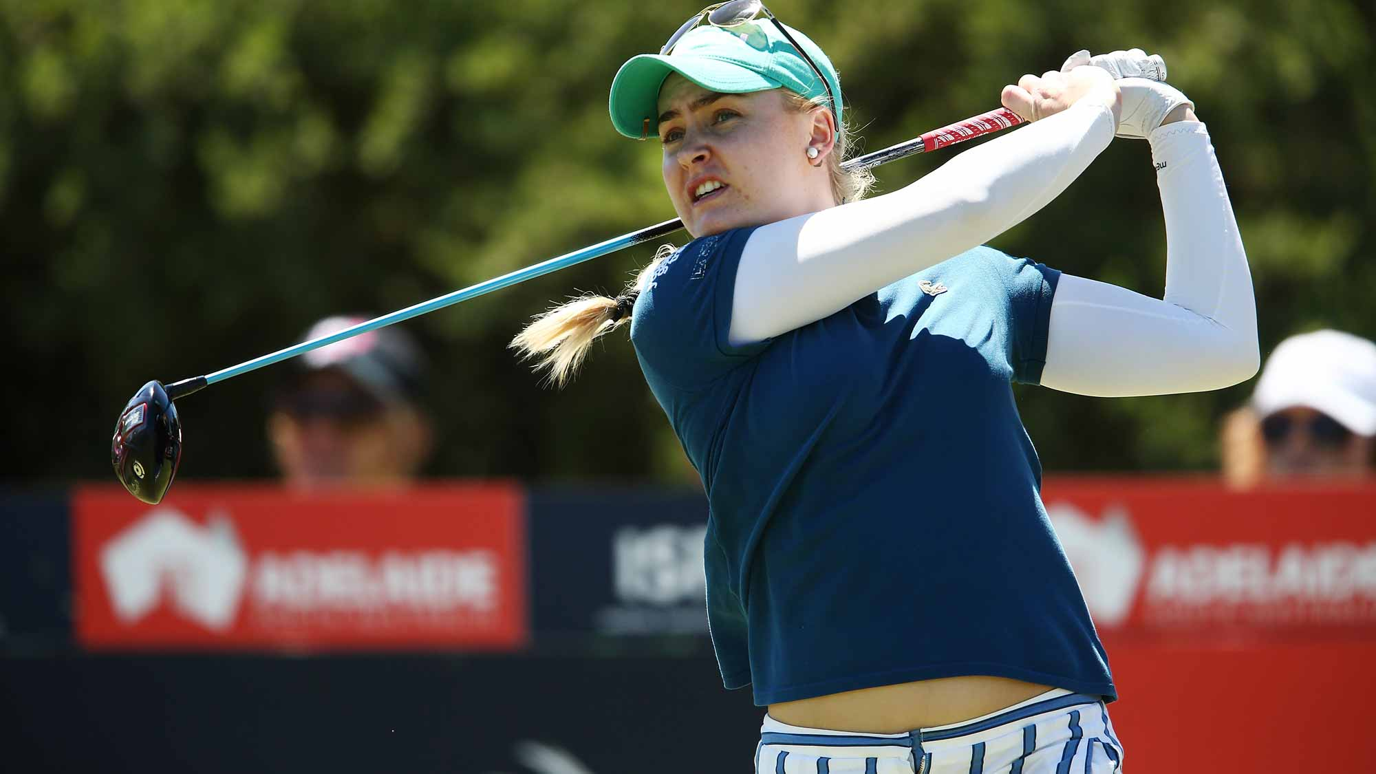 Charley Hull of England tees off during day three of the ISPS Handa Women's Australian Open