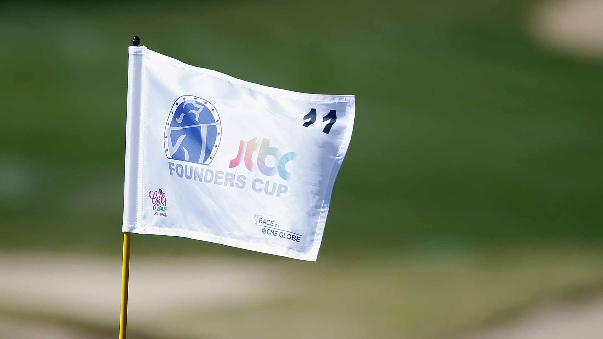 A view of the 11th hole flag during the first round of the LPGA JTBC Founders Cup at Wildfire Golf Club