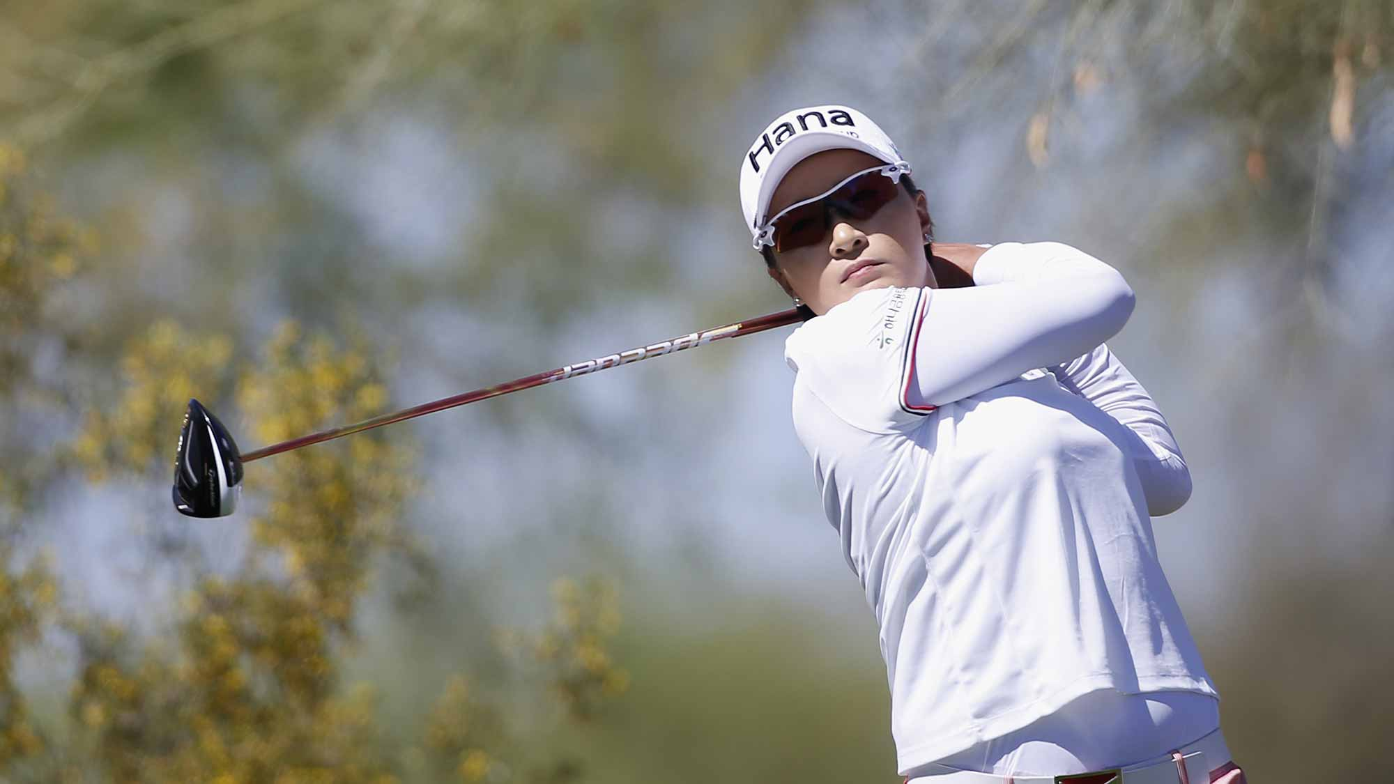 Se Ri Pak of South Korea tees off on the 7th hole during the first round of the LPGA JTBC Founders Cup at Wildfire Golf Club