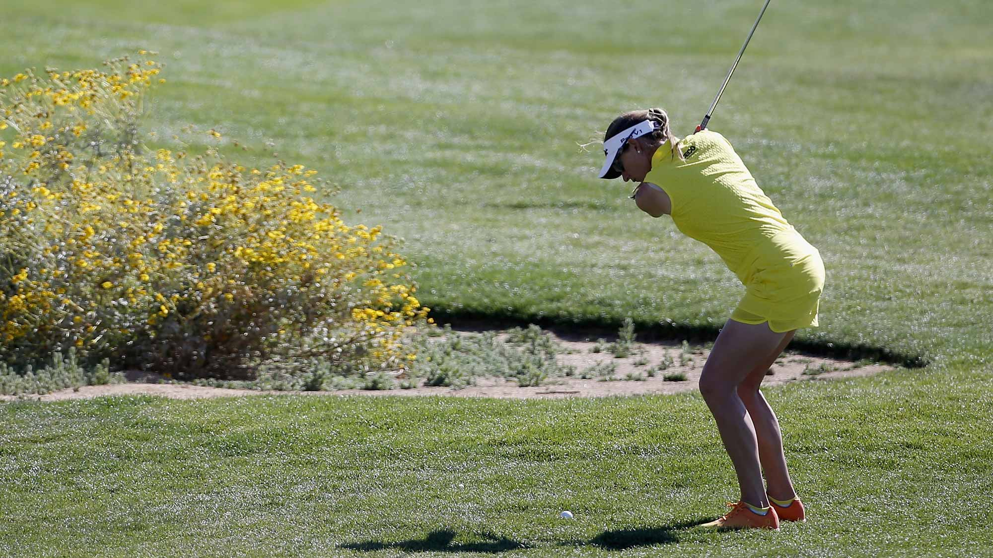 Brittany Lang hits a shot on the first hole during the second round of the LPGA JTBC Founders Cup at Wildfire Golf Club
